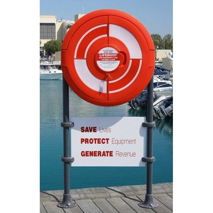 Enclosed Lifebuoy Housing With Sign